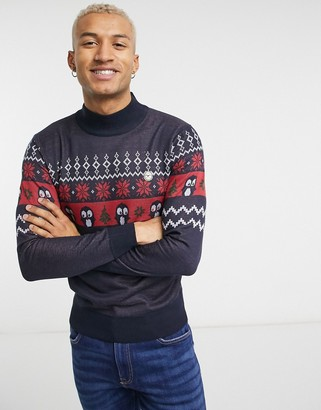 Le Breve roll neck Christmas sweater in navy