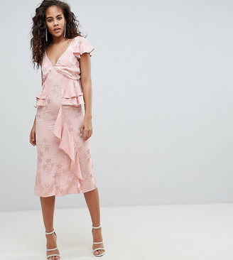 Asos Tall DESIGN Tall soft floral jacquard midi tea dress with ruffle hem