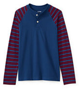Classic Little Boys Stripe Sleeve Henley-Indigo Sky