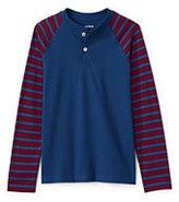 Classic Toddler Boys Stripe Sleeve Henley-Indigo Sky