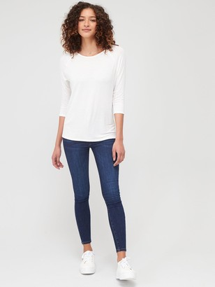 Very The Essential Three Quarter Sleeve Raglan T-Shirt - Ivory