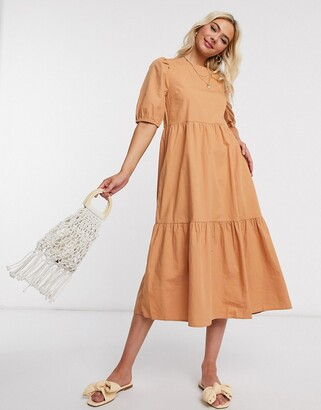 Pieces midi smock dress with puff sleeves in tan