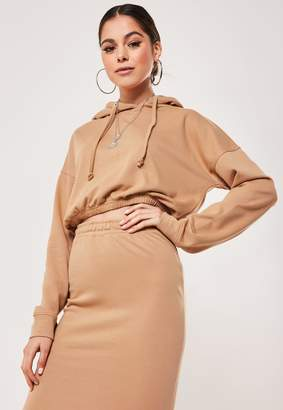 Missguided Camel Co Ord Oversized Cropped Hoodie