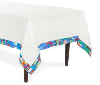 Le Botteghe Su Gologone Abstract Blue Trim Linen Tablecloth