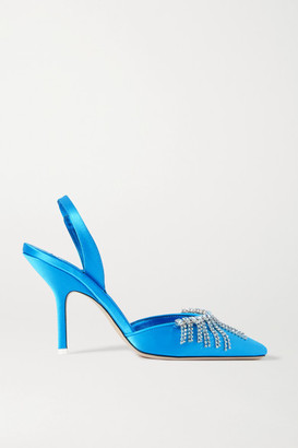 ATTICO The Mara Crystal-embellished Satin Slingback Pumps - Turquoise