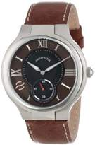 Philip Stein Teslar Men's 42-BRN-CSTDBR Round Dial Dark Stitched Calf Strap Watch