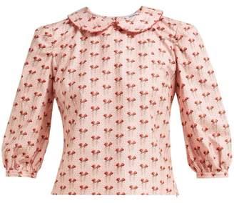 Batsheva Rose-print Cotton Blouse - Womens - Pink Multi