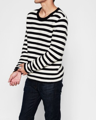 7 For All Mankind Doubleknit Striped Sweater in Ivory