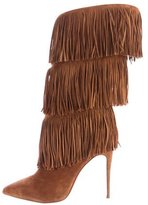Christian Louboutin Suede Fringe Mid-Calf Boots