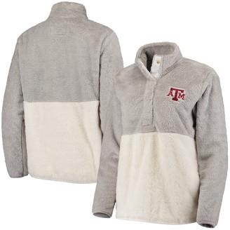 Women's Gray Texas A&M Aggies Fuzzy Fleece Colorblock Quarter-Snap Pullover Jacket