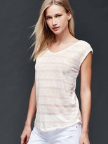 Gap Linen cap sleeve stripe tee