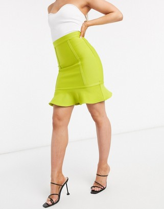 The Girlcode bandage mini skirt two-piece in lime