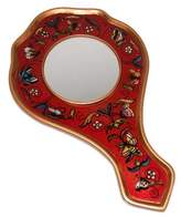 Reverse painted glass hand mirror, 'Scarlet Butterflies'