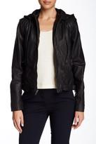 Cole Haan Hooded Zip Genuine Leather Bomber Jacket