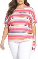MICHAEL Michael Kors Plus Size Women's Madison Stripe Side Tie Top
