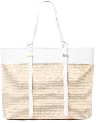 Forever New Freya Panelled Straw Tote Bag - Tan/Straw - 00