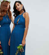 TFNC pleated bridesmaids midi dress in petrol blue