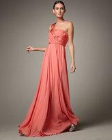 Hoaglund New York One-Shoulder Bead-Detail Gown