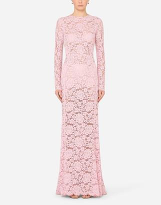 Dolce & Gabbana Long Lace Dress With Train