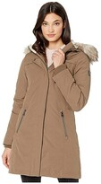 Vince Camuto Hooded Heavyweight Down with Faux Fur Trim V29703X (Taupe) Women's Clothing