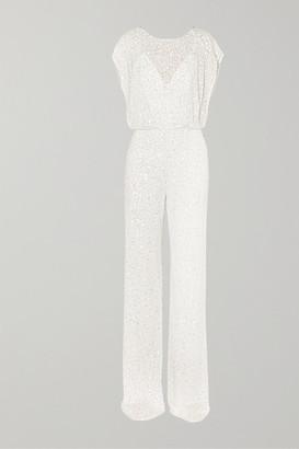 Jenny Packham Apollo Open-back Crystal-embellished Sequined Chiffon Jumpsuit - Ivory
