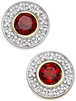 Macy's Rhodolite Garnet (3/4 ct. t.w.) and Diamond Accent Stud Earrings in 14k Gold and Rhodium Plate