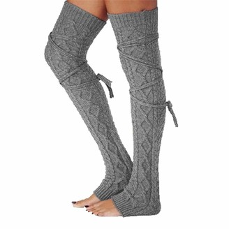 jsadfojas Women Wool Stockings Thicken Leg Warmers Winter Knit Boot Socks Winter Stockings (Dark Grey One Size)