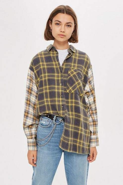 Topshop Womens Petite Mixed Check Oversized Shirt