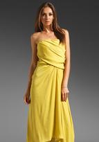 Halston Heritage Strapless Draped Side Waist Microsatin Gown