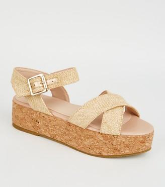 New Look Girls Raffia Flatform Sandals