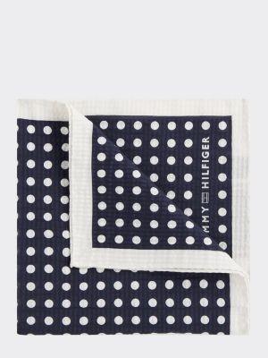Tommy Hilfiger Cotton Silk Polka Dot Pocket Square