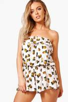 boohoo Laura Pineapple Print Bandeau Playsuit