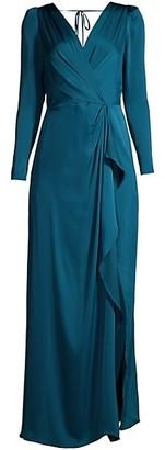 BCBGMAXAZRIA Satin Wrap-Effect Gown