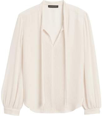 Banana Republic Tie-Neck Tuxedo Blouse