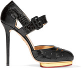 Charlotte Olympia Divia Cutout Croc-effect Leather Platform Pumps - Black
