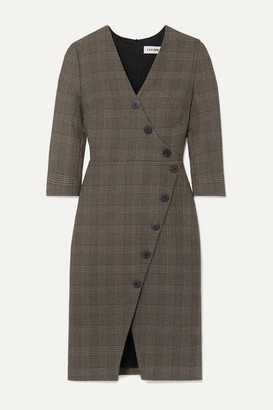 Cefinn Sofie Prince Of Wales Checked Cotton-blend Dress - Brown