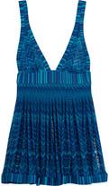 Missoni Mare Pleated Metallic Crochet-Knit Mini Dress