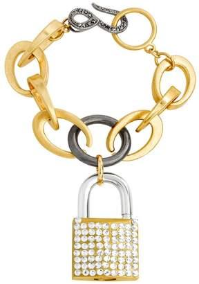 Steve Madden Two-Tone Lock Pendant Link Bracelet