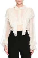 Dolce & Gabbana Lace-Trim Sheer Button-Front Blouse, Ivory