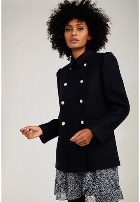 Naf Naf Short Buttoned Pea Coat in Wool Mix