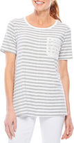 Sag Harbor Lace And Stripes Tunic Top