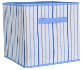 Laura Ashley Collapsible Storage Cube in Painterly Blue Stripe