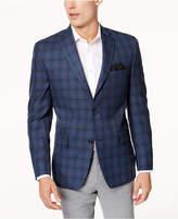 Michael Kors Men's Classic-Fit Blue and Gray Plaid Sport Coat
