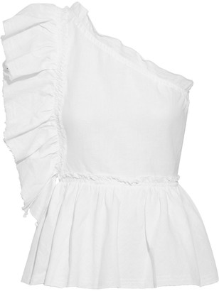 IRO Plum One-shoulder Ruffled Linen And Cotton-blend Top
