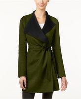 Calvin Klein Layered-Collar Belted Wrap Coat