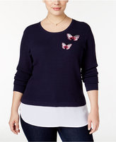 INC International Concepts Plus Size Waffle-Knit Layered-Look Sweater, Only at Macy's
