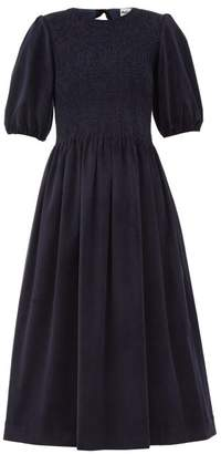 Molly Goddard Priscilla Shirred Cotton-blend Corduroy Dress - Womens - Navy