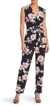 Brinker & Eliza Cap Sleeve Tie Waist Floral Jumpsuit (Petite)