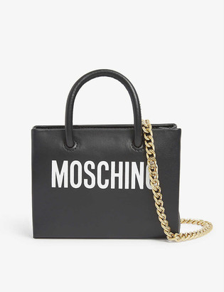 Moschino Logo-print mini leather cross-body belt bag