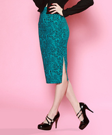 Bettie Page Turquoise Paisley Side-Slit Pencil Skirt